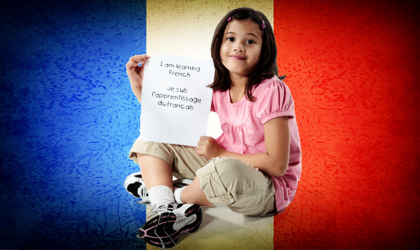 girl learning french